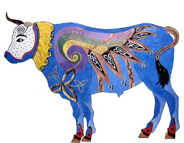 "Teresa Galvin Anderson; s ""Luke the Celtic Ox"" is one of the 60 designs for decorating oxen statues on display in the Hopewell Valley Arts Council's ""Stempede!"" exhibit at the Capital Health Medical Center ­- Hopewell"